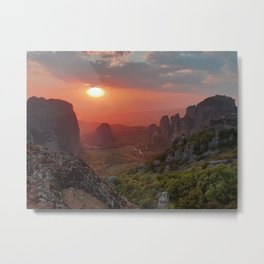 Majestic Sunset on Meteora Rocks Greece Metal Print