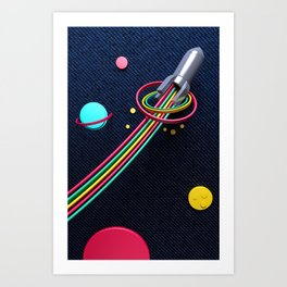 Rocket on Denim Art Print