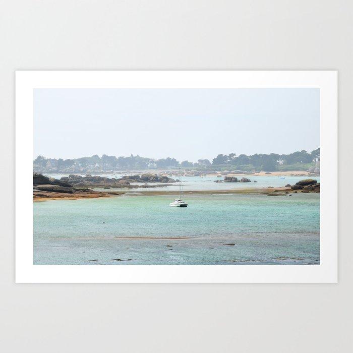 Walking on the shore Art Print