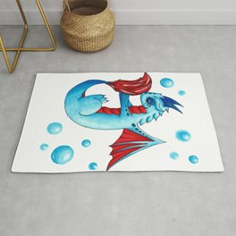 Blue Bubbles Dragon Rug