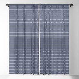 Navy Blue Pinstripe Lines Sheer Curtain