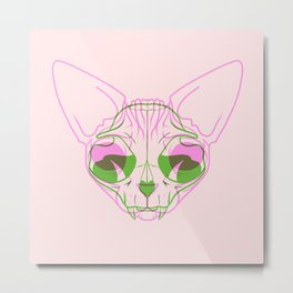 Sphynx Skull - Double Exposure - Pink and Green Metal Print