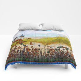 Plaid Beachscape with Dragonflies Comforters