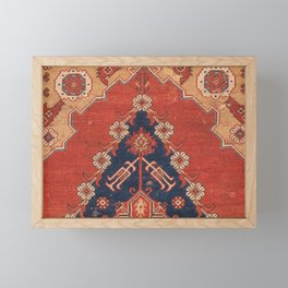 Southwest Tuscan Shapes III // 18th Century Aged Dark Blue Redish Yellow Colorful Ornate Rug Pattern Framed Mini Art Print