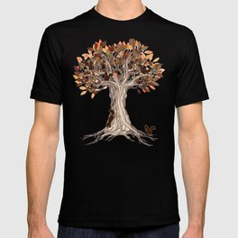 Little Visitors - Autumn tree illustration with squirrels T-shirt