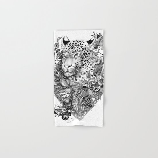 black and white jungle leopard Hand & Bath Towel