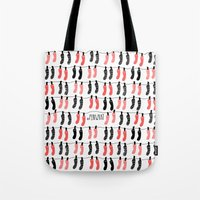 socks Tote Bags featuring Hanging socks by Periwhat