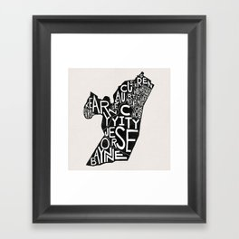Hudson County, New Jersey Map Framed Art Print
