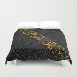 Old Yellow painted line on asphalt road Duvet Cover
