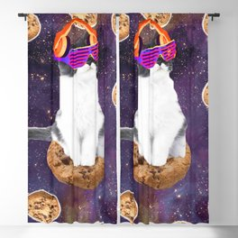 Rave Kitty Cat On Choc Cookie In Space Blackout Curtain