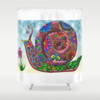 snail Shower Curtains featuring Snail by WelshPixie