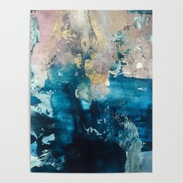 Timeless: A gorgeous, abstract mixed media piece in blue, pink, and gold by Alyssa Hamilton Art Poster