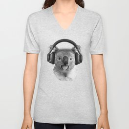 Koala, lovely koala grooving with headphones Unisex V-Neck