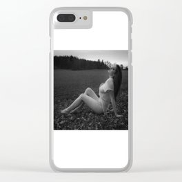 gray scale girl Clear iPhone Case