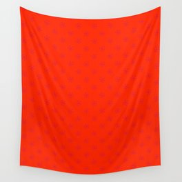 Crimson Red on Scarlet Red Snowflakes Wall Tapestry