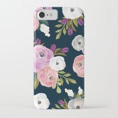 Midnight Florals - Pink & Purple iPhone 7 Slim Case