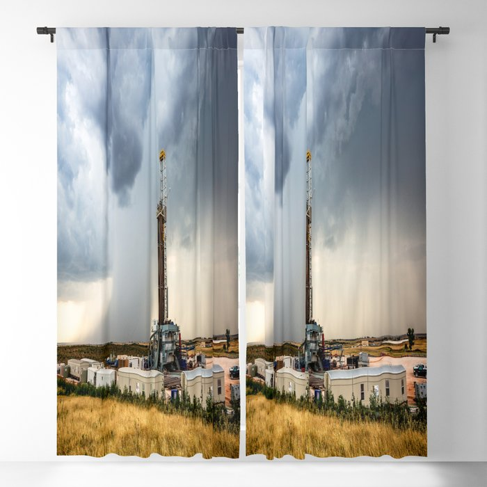 Nevermind the Weather - Oil Rig and Passing Storm in Oklahoma Blackout Curtain