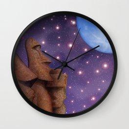 Moai & Moon in Universe Wall Clock