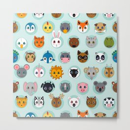 Baby Animal Dots Metal Print