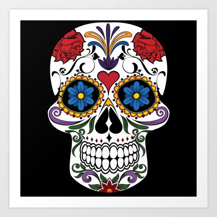 Colorful Sugar Skull Art Print By Mesutok Society6