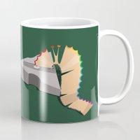 floyd Mugs featuring pink floyd & caterpillar &butterfly by gazonula