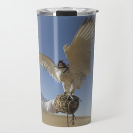 Falconer With Hooded Falcon In The Desert Travel Mug