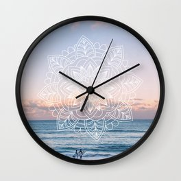 Twilight surf mandala Wall Clock