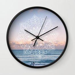 Twilight surf mandala Wall Clock