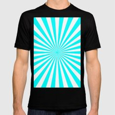 Starburst (Aqua Cyan/White) Black Mens Fitted Tee MEDIUM