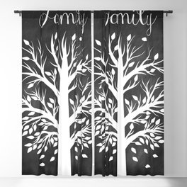 Family Tree Black and White Blackout Curtain