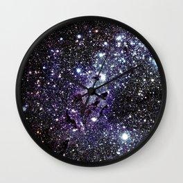 The Eagle Nebula : Pillars of Creation Deep Dark Blues & Purples Wall Clock