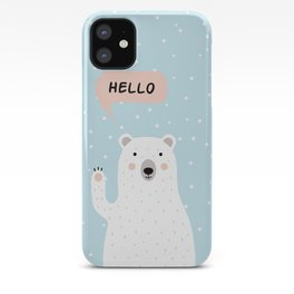 Cute Polar Bear in the Snow says Hello iPhone Case