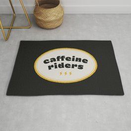 Caffeine Riders # black & yellow Rug