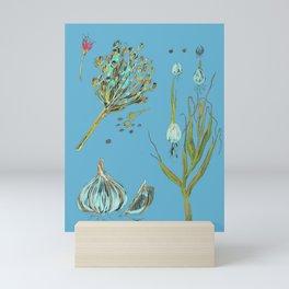 Garlic Drawing Blue background Mini Art Print