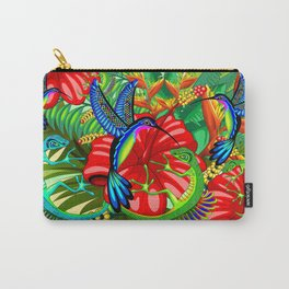 The Lizard, The Hummingbird and The Hibiscus Carry-All Pouch