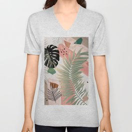 Palm Leaf Summer Glam #1 #tropical #decor #art #society6 Unisex V-Neck