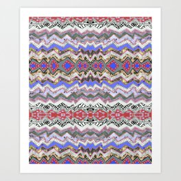 Red Violet Pink Rose Garden Aztec Art Print