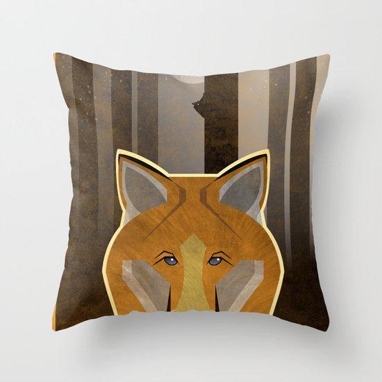Night Fox Throw Pillow