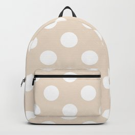 Almond - pink - White Polka Dots - Pois Pattern Backpack