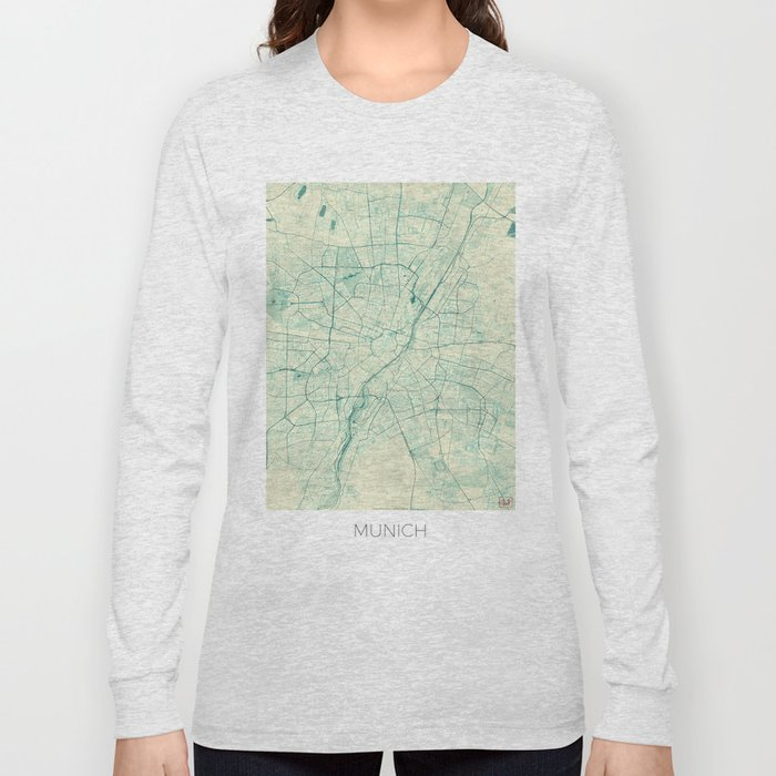 Munich Map Blue Vintage Long Sleeve T-shirt