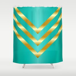 Gold strips on royal green gradient Shower Curtain