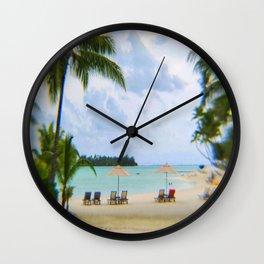 A Dreamy Day at a Tahitian Beach, Bora Bora Wall Clock