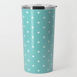 Small White Polka Dots with Aqua Background Travel Mug