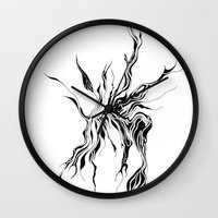 hydra Wall Clocks featuring Hydra (detail) by Cloudery