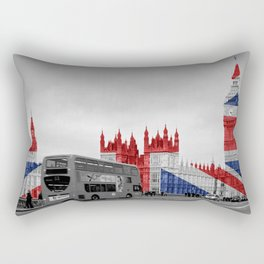 Big Ben, London Bus and Union Jack Flag Rectangular Pillow