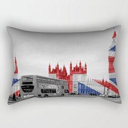 Big Ben, London Bus and Union Jack Flag Rectangular Pillow