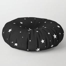 Scattered Stars - white on black Floor Pillow