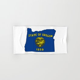 Oregon Map with State Flag Hand & Bath Towel