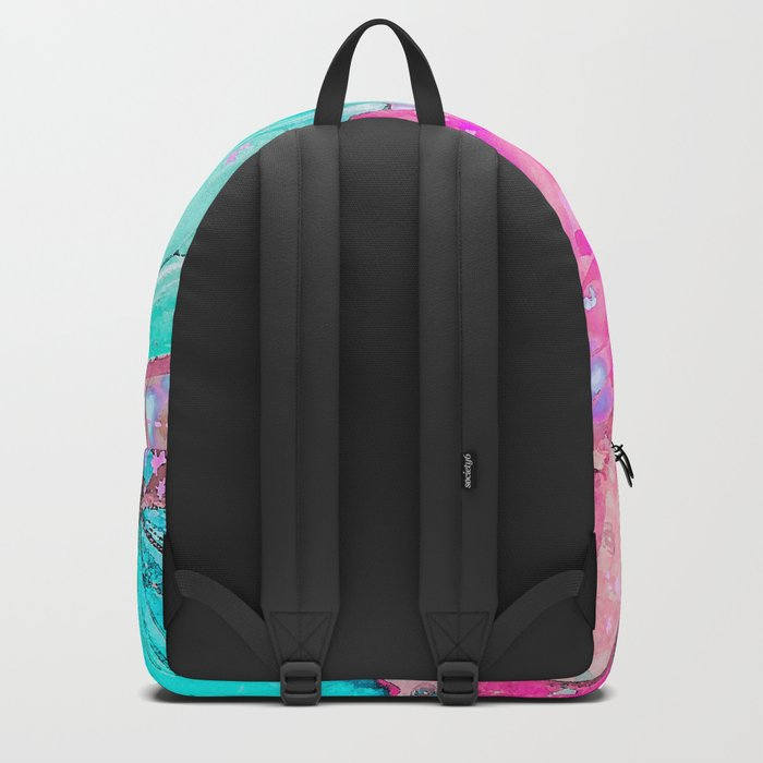 Turquoise butterflies on a pink background - lovely summer mood Backpack
