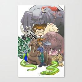 Zoo Keeper & Friends Canvas Print